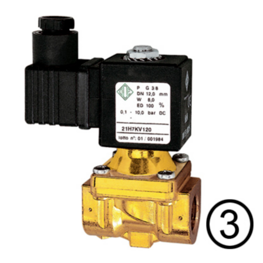 Solenoid valves, closed when de-energised, pilot-operated
