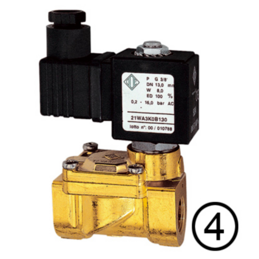 Solenoid valves, open when de-energised, pilot-operated