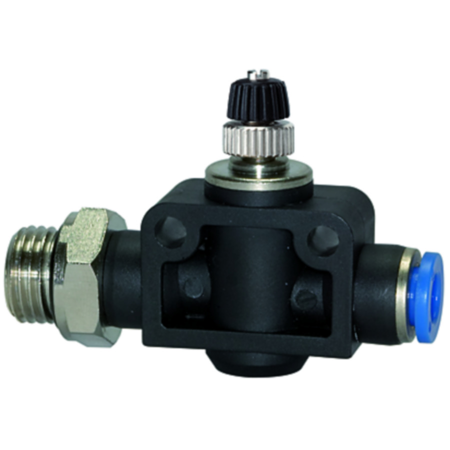Unidirectional flow control valves with male thread and plug connection, straight type »Blue Series«
