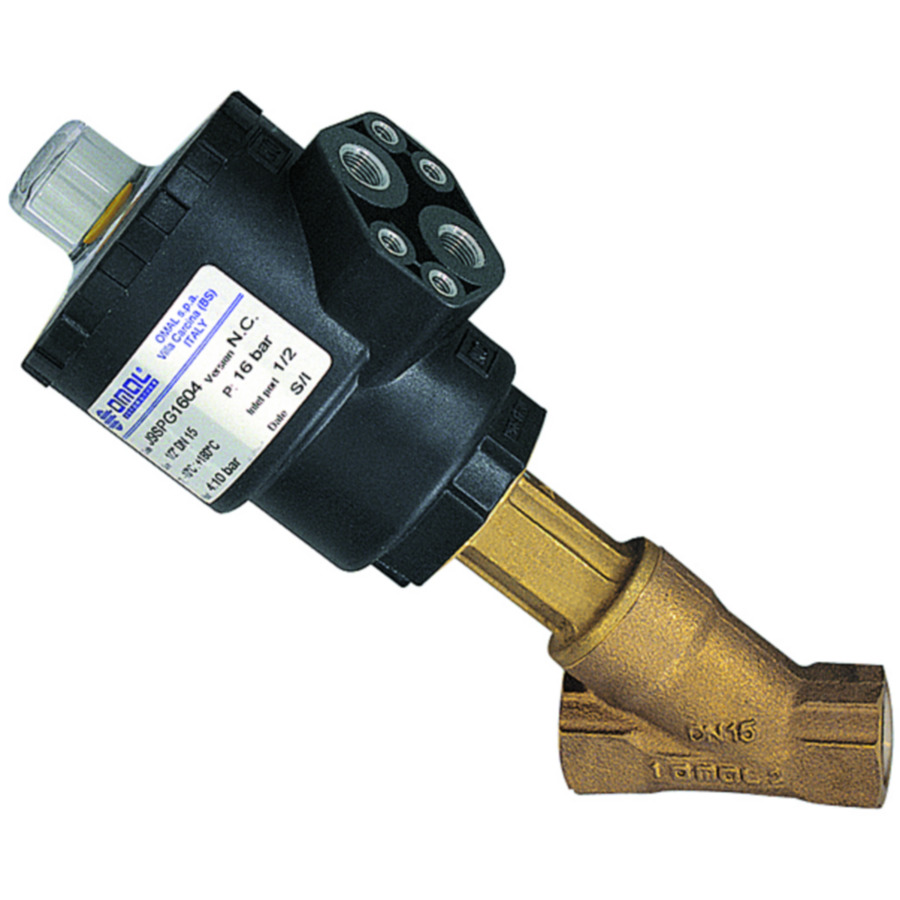 Angle-seat valves with piston actuator