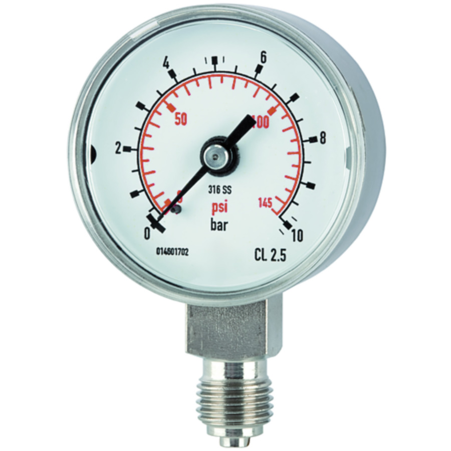 Pressure gauges, CrNi steel type, standard model, economical and reliable